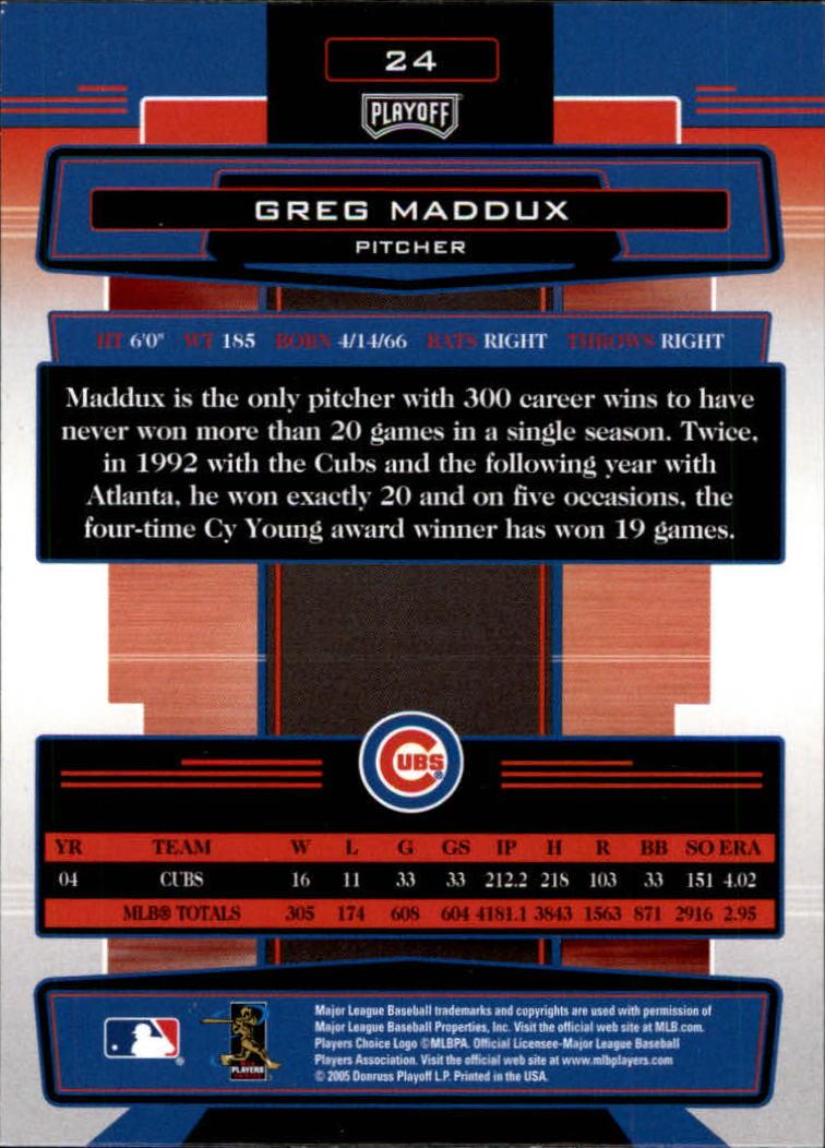 2005 Absolute Memorabilia #24 Greg Maddux back image