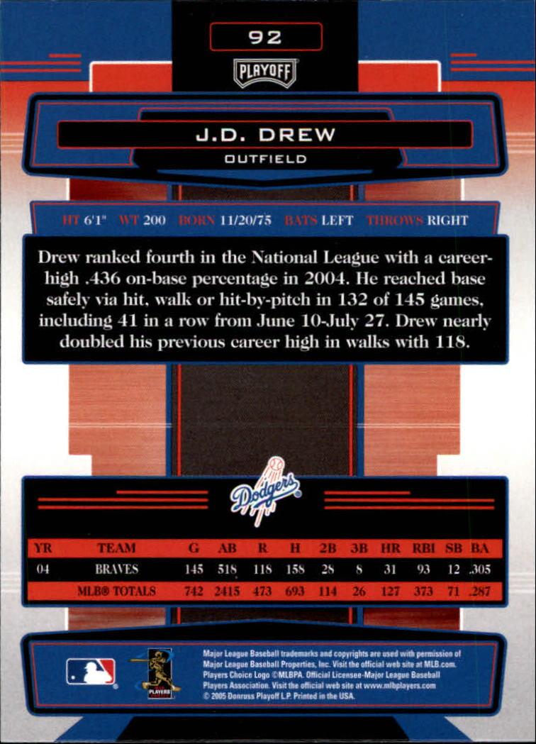 2005 Absolute Memorabilia #92 J.D. Drew back image
