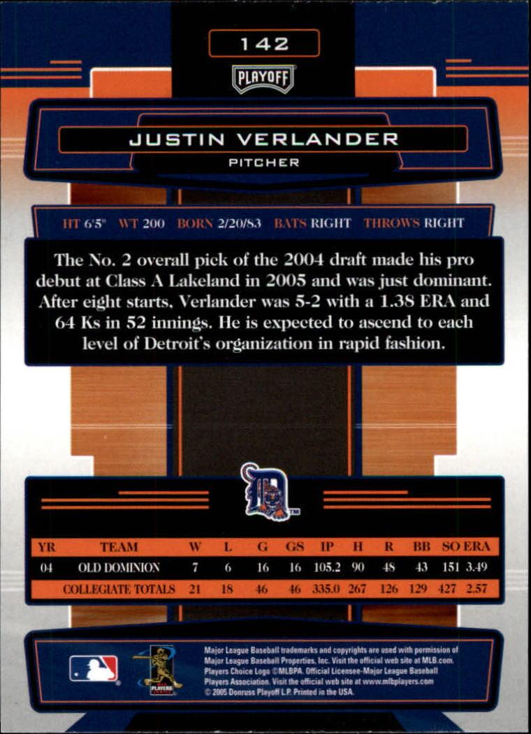2005 Absolute Memorabilia #142 Justin Verlander back image