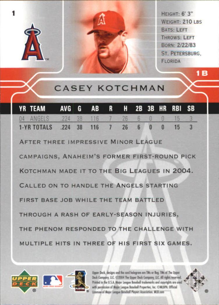 2005 Upper Deck #1 Casey Kotchman back image