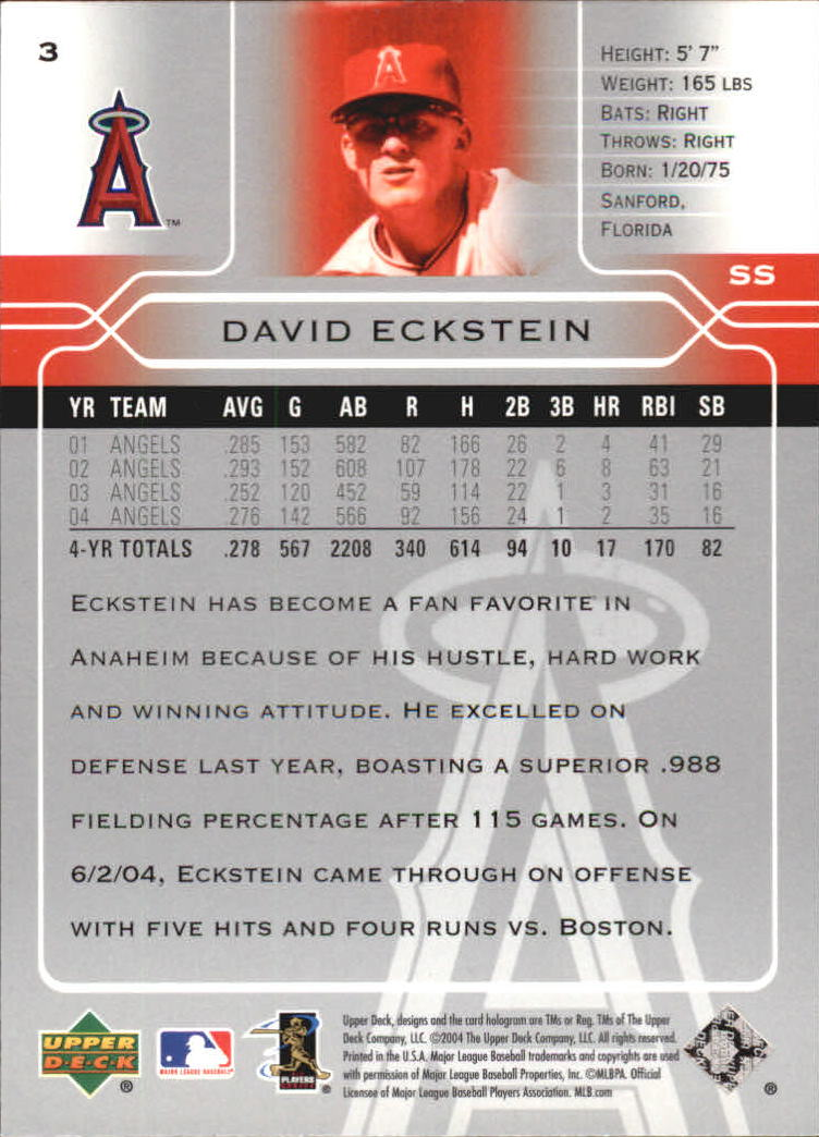 2005 Upper Deck #3 David Eckstein back image