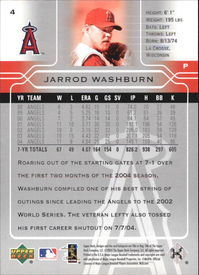 2005 Upper Deck #4 Jarrod Washburn back image