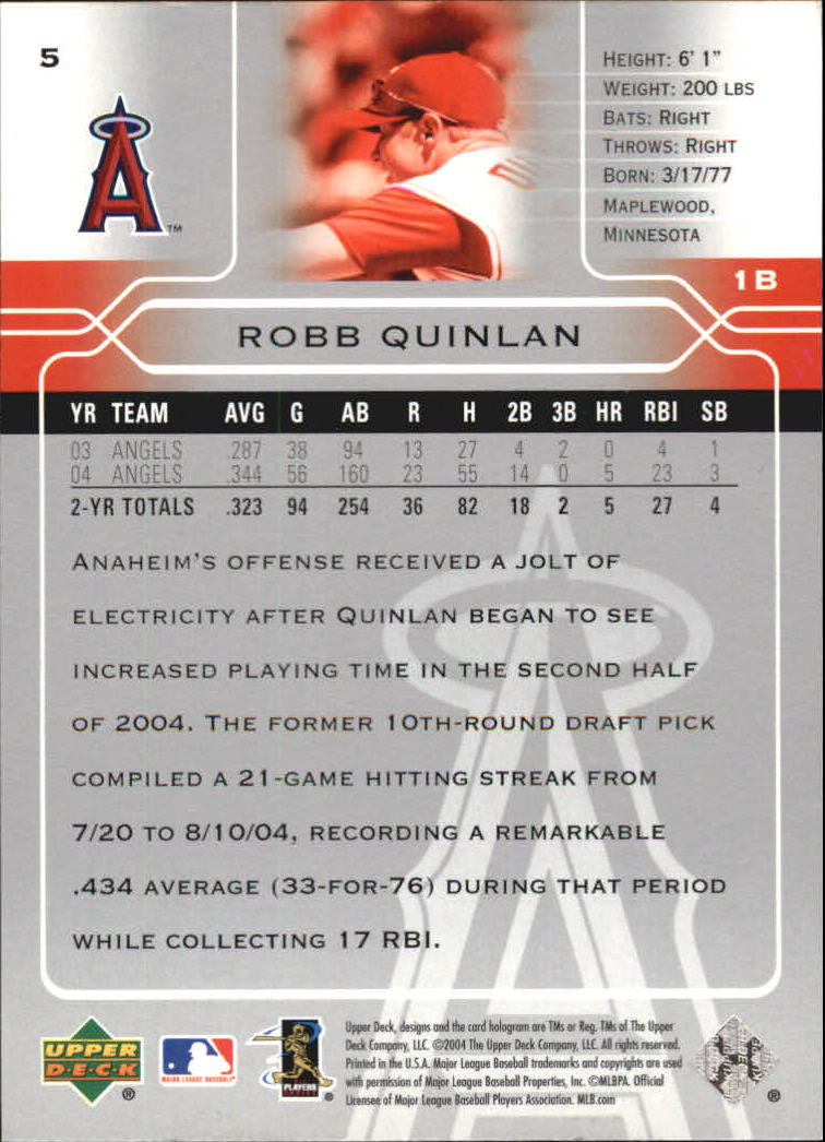 2005 Upper Deck #5 Robb Quinlan back image