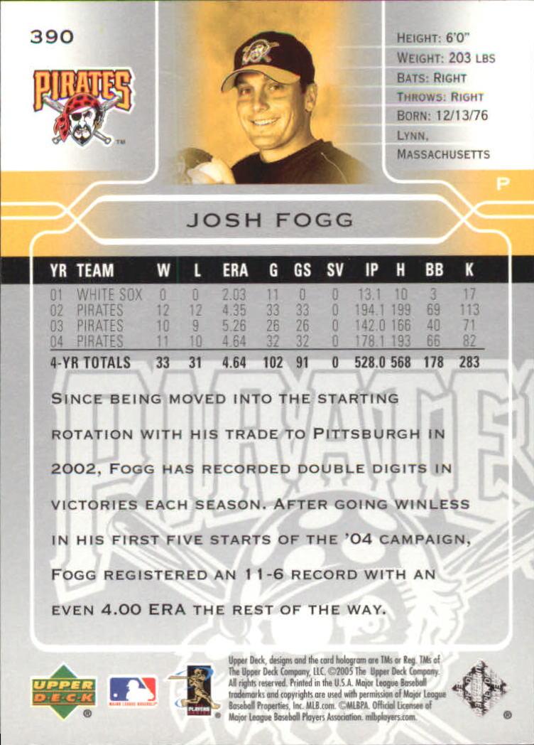 2005 Upper Deck #390 Josh Fogg back image