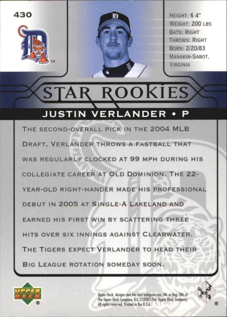 2005 Upper Deck #430 Justin Verlander SR RC back image