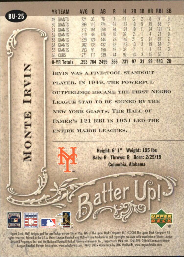 2005 Upper Deck MVP Batter Up! #25 Monte Irvin back image