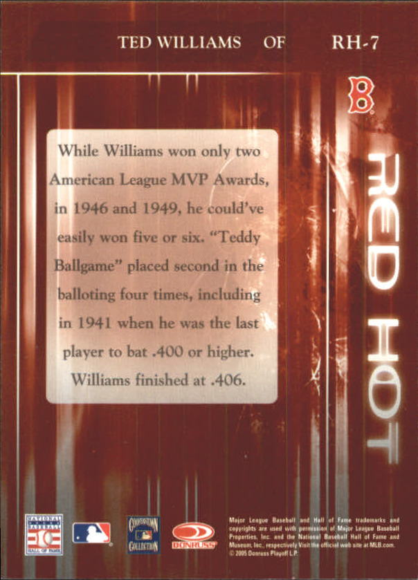 2005 Zenith Red Hot #7 Ted Williams back image