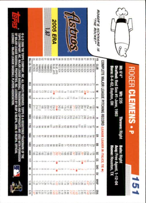 2006 Topps #151 Roger Clemens back image