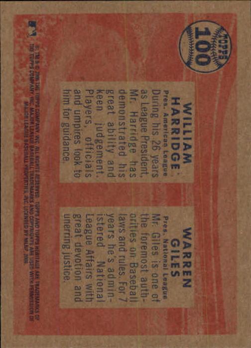 2006 Topps Heritage #100 W.Harridge/W.Giles back image