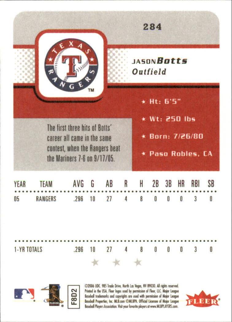 2006 Fleer #284 Jason Botts (RC) back image