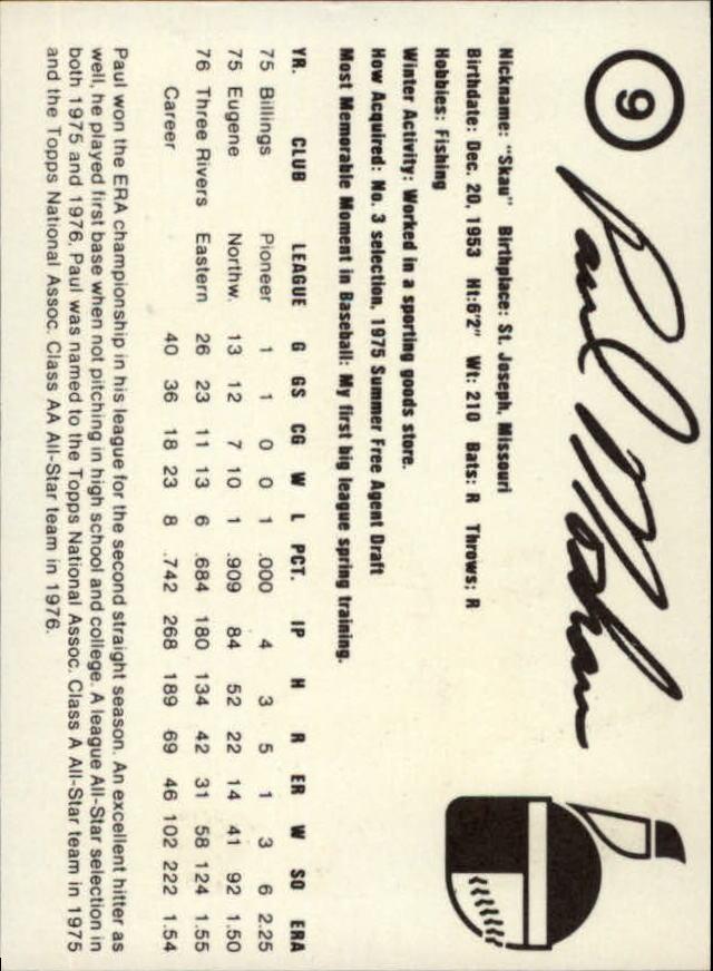 1977 Indianapolis Indians Team Issue #9 Paul Moskau back image