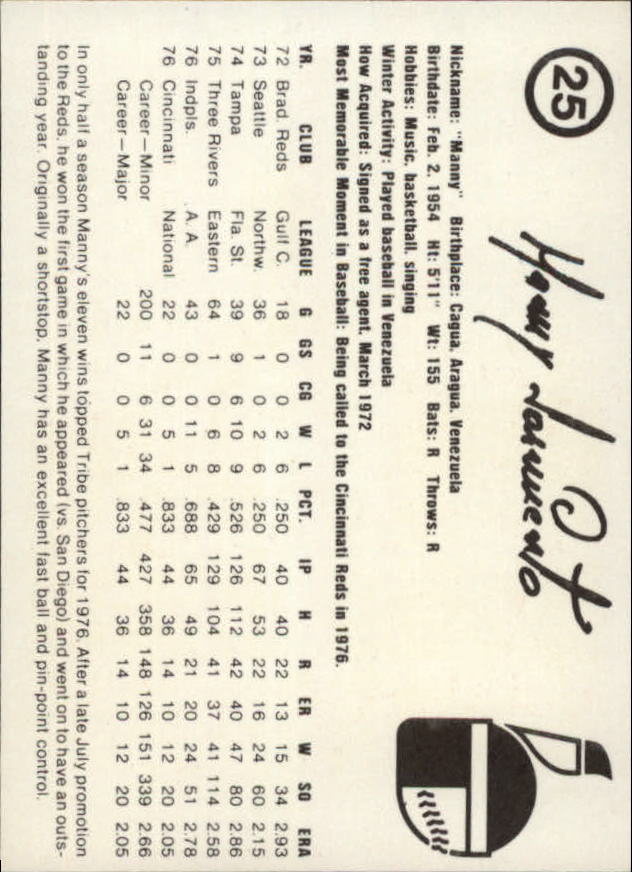 1977 Indianapolis Indians Team Issue #25 Manny Sarmiento back image