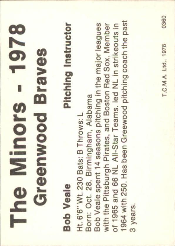 1978 Greenwood Braves TCMA #28 Bob Veale back image