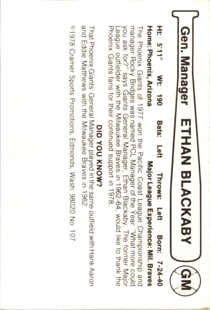 1978 Phoenix Giants Cramer #1 Ethan Blackaby back image