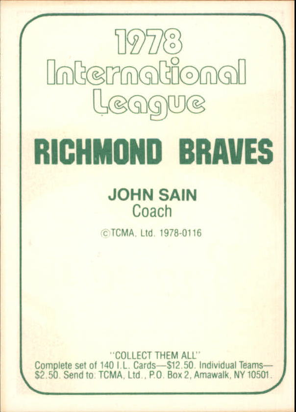 1978 Richmond Braves TCMA #14 John Sain back image