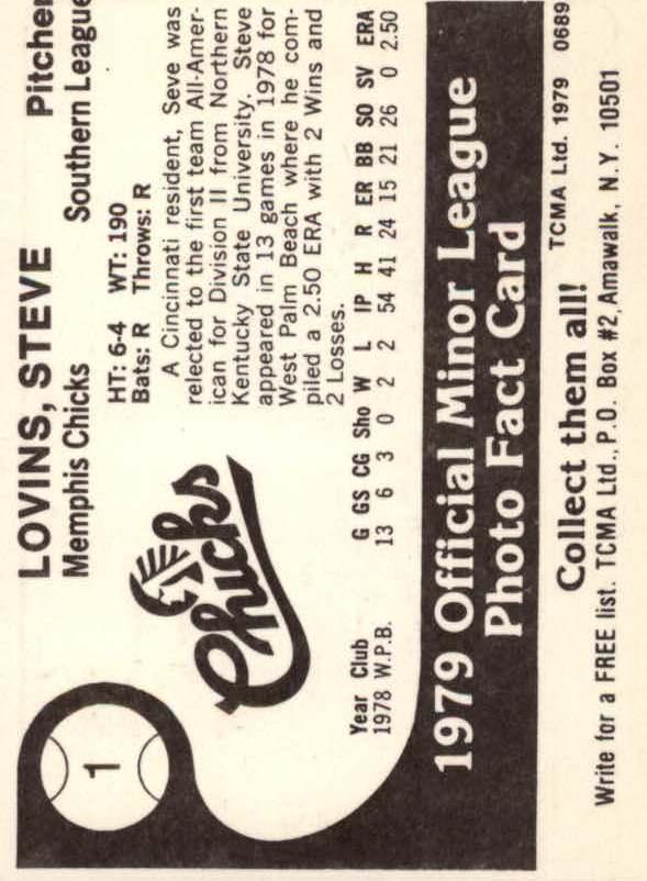 1979 Memphis Chicks TCMA #1 Steve Lovins back image