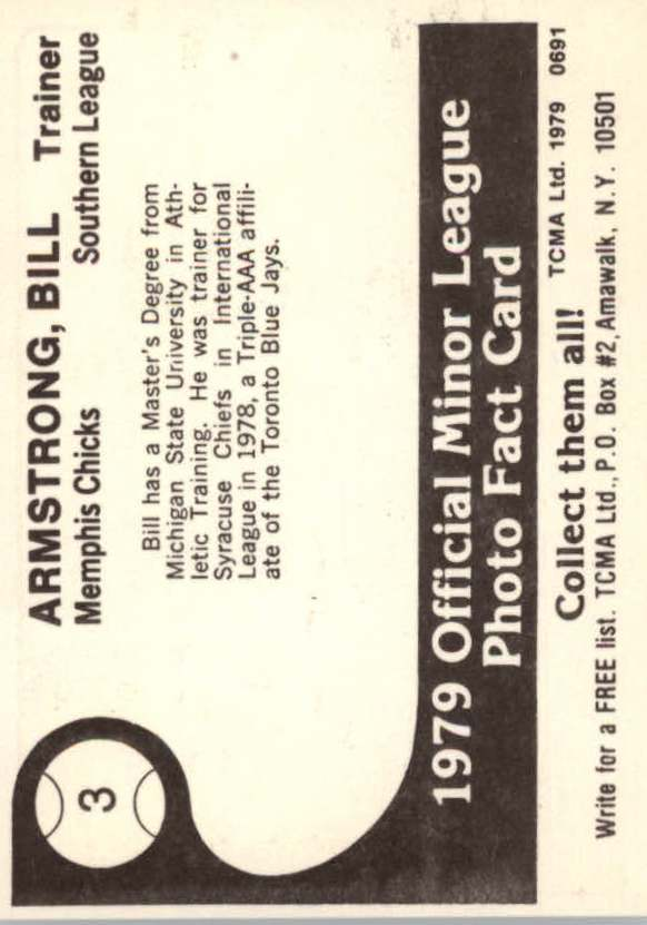 1979 Memphis Chicks TCMA #3 Bill Armstrong TR back image