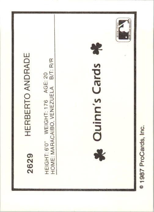 1987 Geneva Cubs ProCards #8 Herberto Andrade back image