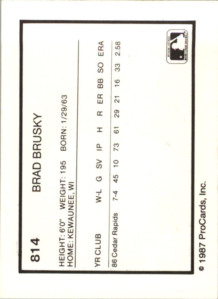 1987 Vermont Reds ProCards #1 Brad Brusky back image