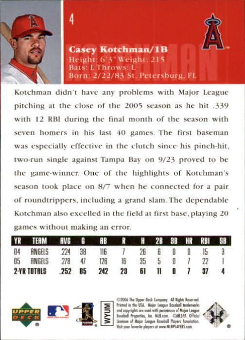 2006 Upper Deck #4 Casey Kotchman back image