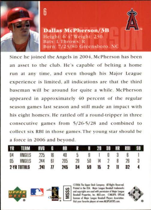 2006 Upper Deck #6 Dallas McPherson back image