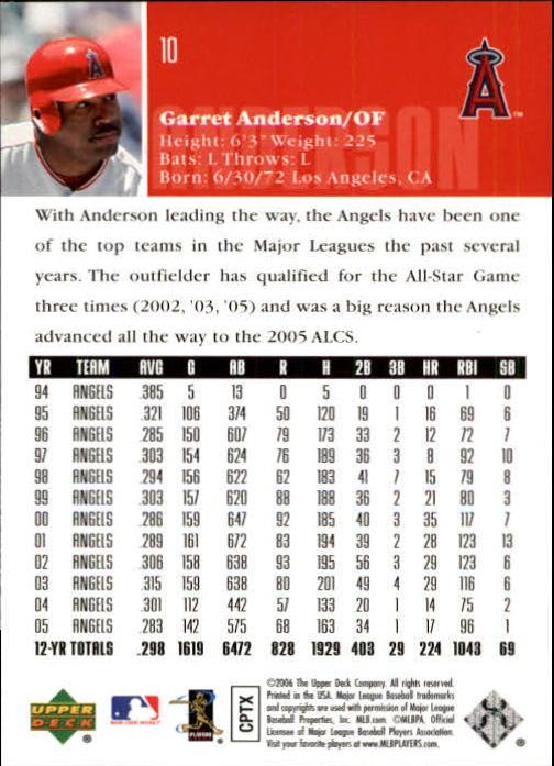 2006 Upper Deck #10 Garret Anderson back image