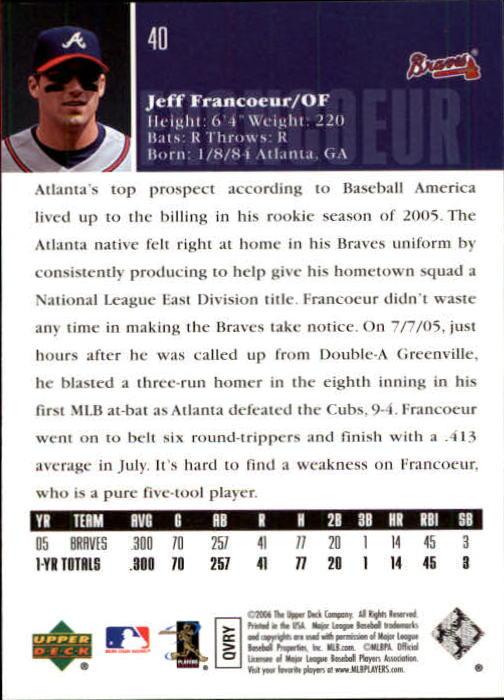 2006 Upper Deck #40 Jeff Francoeur back image