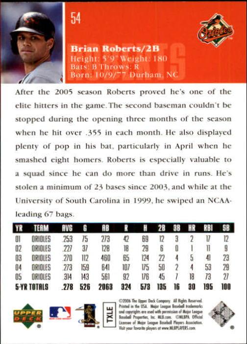 2006 Upper Deck #54 Brian Roberts back image