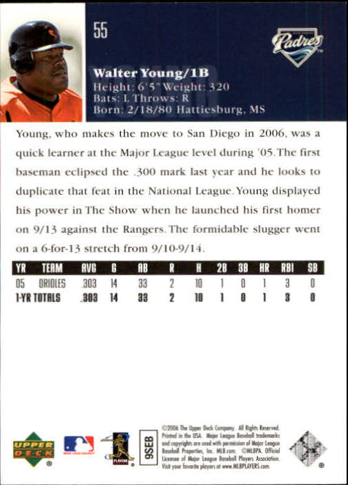 2006 Upper Deck #55 Walter Young (RC) back image