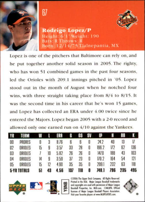 2006 Upper Deck #67 Rodrigo Lopez back image