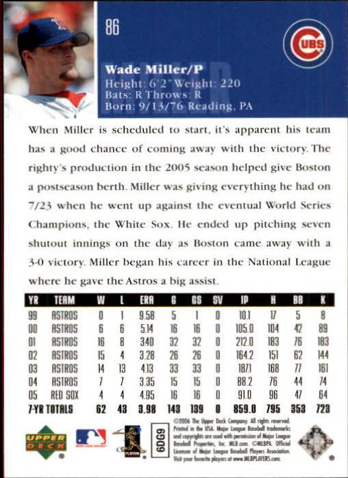 2006 Upper Deck #86 Wade Miller back image