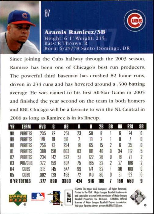 2006 Upper Deck #87 Aramis Ramirez back image