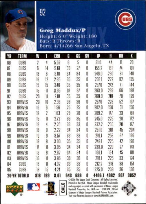 2006 Upper Deck #92 Greg Maddux back image