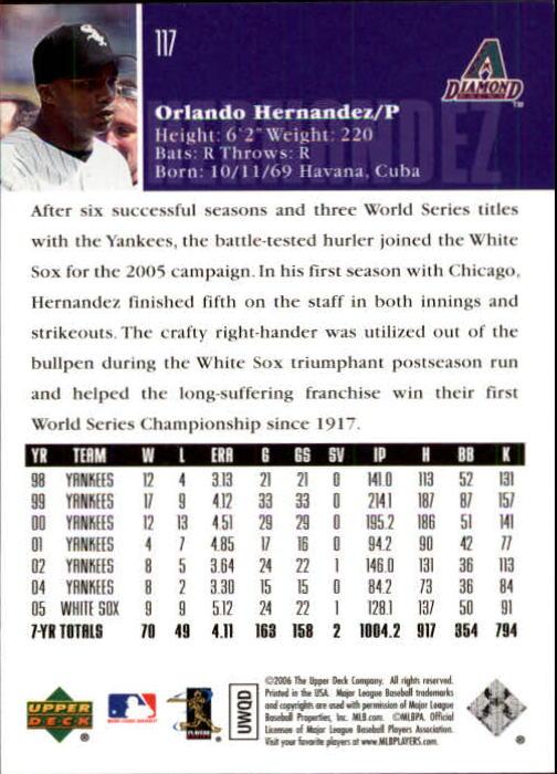 2006 Upper Deck #117 Orlando Hernandez back image