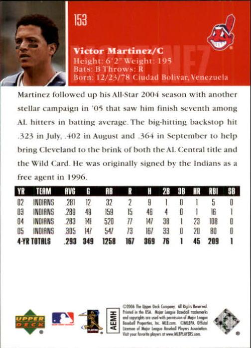 2006 Upper Deck #153 Victor Martinez back image