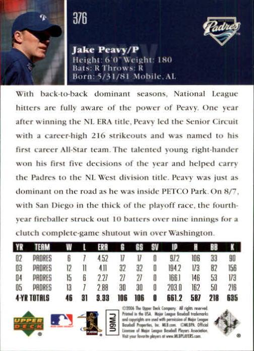 2006 Upper Deck #376 Jake Peavy back image