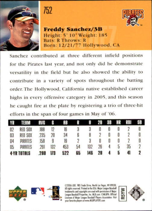 2006 Upper Deck #752 Freddy Sanchez back image