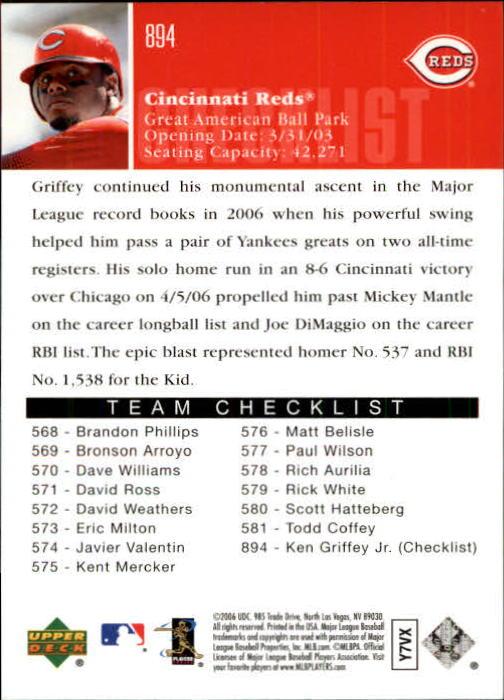 2006 Upper Deck #894 Ken Griffey Jr. CL back image