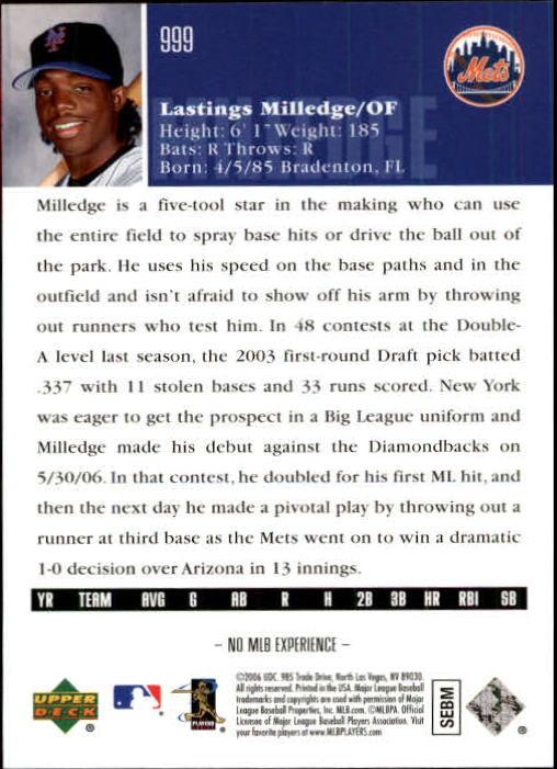 2006 Upper Deck #999 Lastings Milledge (RC) back image