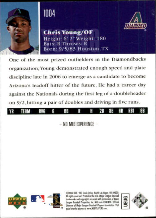 2006 Upper Deck #1004 Chris B. Young (RC) back image