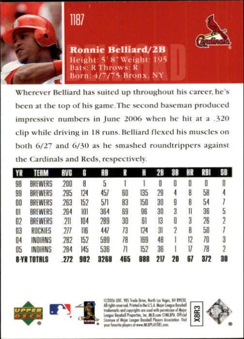 2006 Upper Deck #1187 Ronnie Belliard back image
