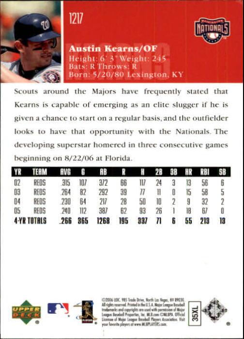 2006 Upper Deck #1217 Austin Kearns back image