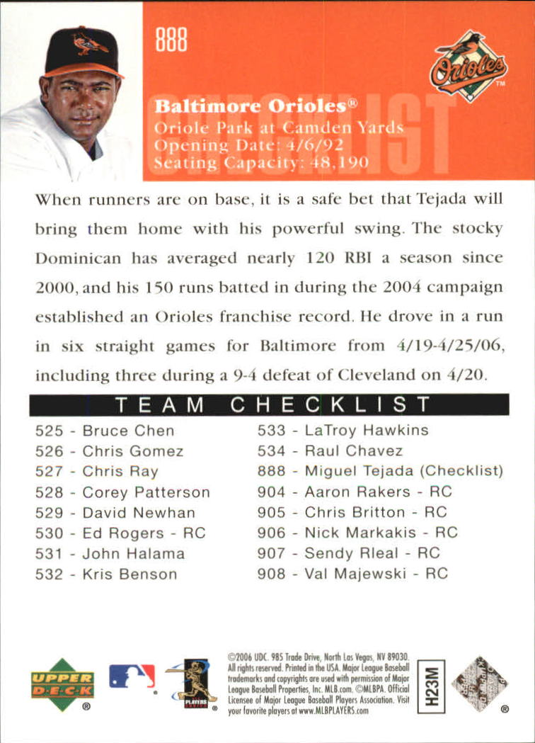 2006 Upper Deck Silver Spectrum #888 Miguel Tejada CL back image