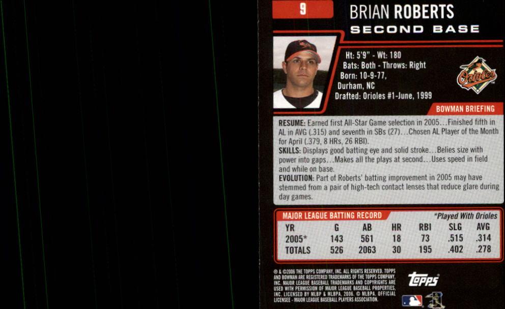 2006 Bowman #9 Brian Roberts back image
