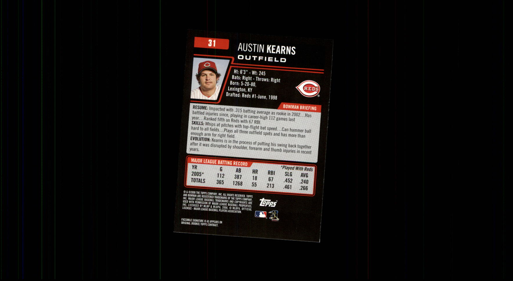 2006 Bowman #31 Austin Kearns back image