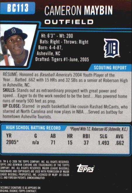 2006 Bowman Chrome Prospects #BC113 Cameron Maybin back image