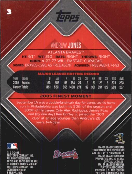 2006 Finest #3 Andruw Jones back image