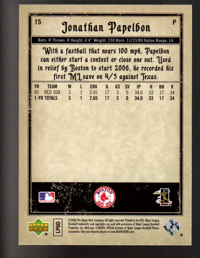 2006 Artifacts #15 Jonathan Papelbon (RC) back image