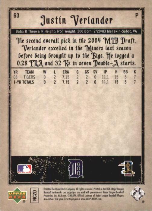 2006 Artifacts #63 Justin Verlander (RC) back image