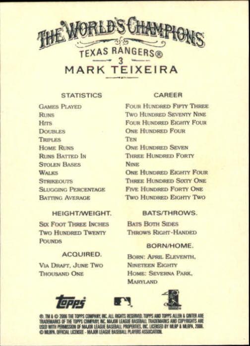 2006 Topps Allen and Ginter #3 Mark Teixeira back image